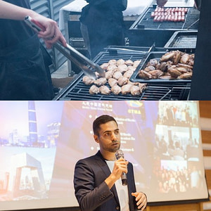 Split picture of a BBQ and a man with a microphone